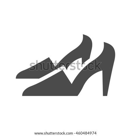 High heels icons in single color. Woman accessories fashion - stock vector