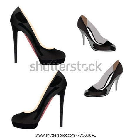 high heels shoes - stock vector