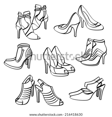 High Heels Shoes Collection - stock vector