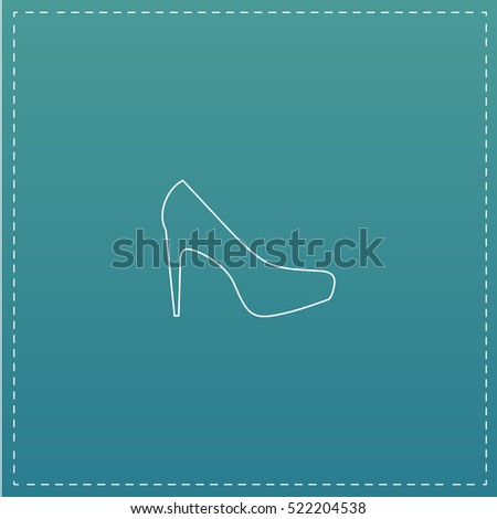 high heels Simple line vector button. Thin line illustration icon. White outline symbol on blue background