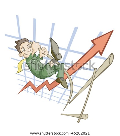 High jump of the businessman symbolizing success in business