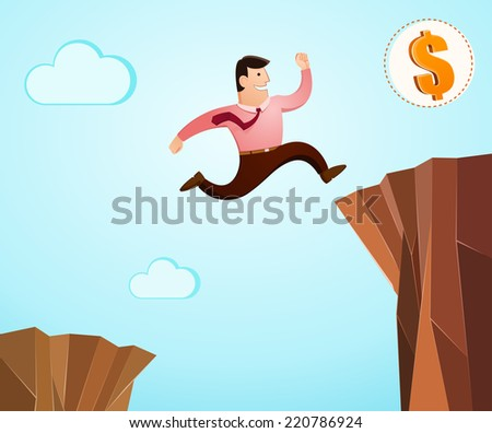 high jump over the cliff to achieve success - stock vector