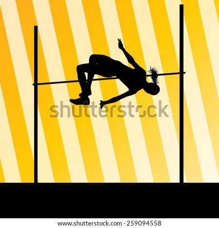 High jump woman vector abstract background - stock vector