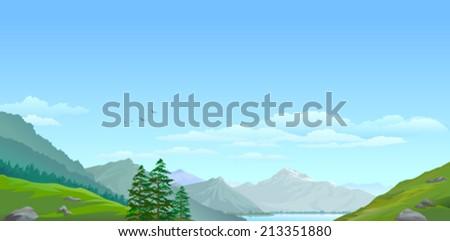 High mountain and green valley  - stock vector
