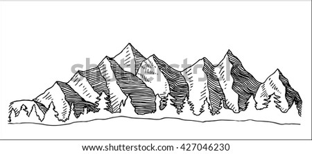 high mountains and valley with forest landscape hand drawn sketch vector illustration