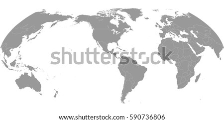 High quality america centric world map stock vector 590736806 high quality america centric world map with borders of the countries gumiabroncs Image collections