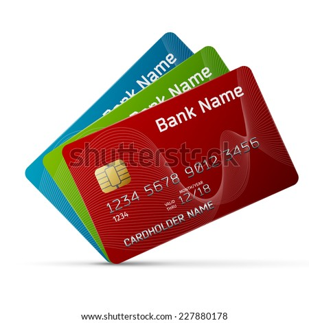 High quality and very detailed realistic illustration of a plastic credit card. Isolated on white. - stock vector