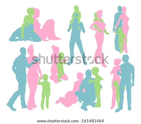 High quality and very detailed silhouettes of a young happy family, mother and father and child, in various poses  - stock vector