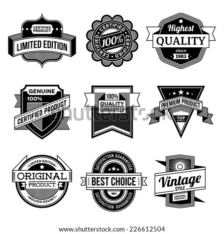 High quality assorted designs vector black and white vintage badges and labels set 2.  - stock vector