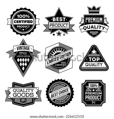 High quality assorted designs vector black and white vintage badges and labels set 1.  - stock vector