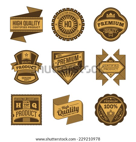 High quality assorted designs vector two colors vintage badges and labels set 6.  - stock vector