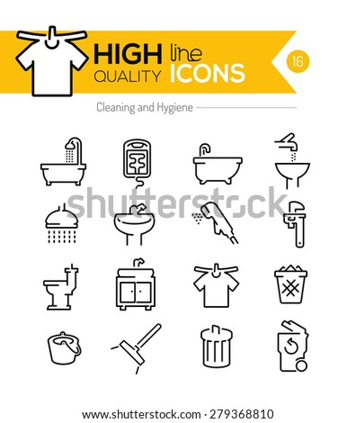 High Quality Cleaning and Hygiene line icons - stock vector