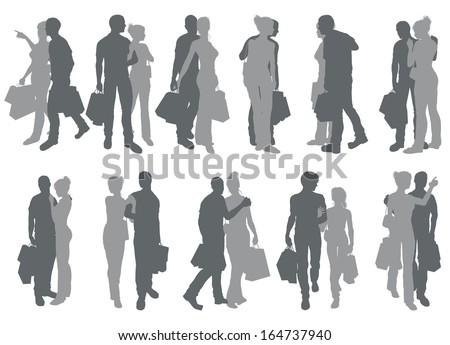 High quality detailed silhouettes of a young couple out having fun shopping - stock vector