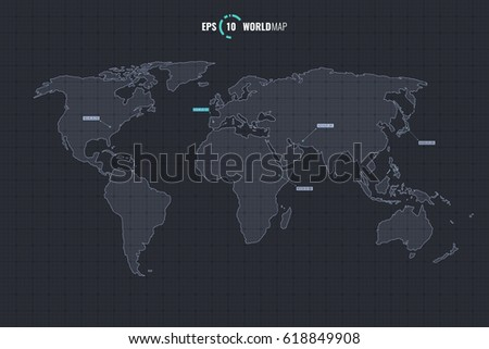 High quality detailed vector outline world stock vector 618849908 high quality detailed vector outline world map template isolated on coordinate grid background eps 10 gumiabroncs Choice Image