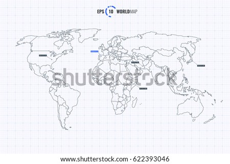 High quality detailed vector world map stock vector 622393046 high quality detailed vector world map with countries template isolated on coordinate grid background eps gumiabroncs Choice Image