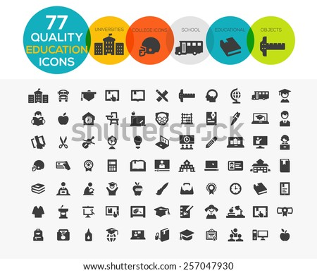 High Quality Education Icons including: teaching, University and college, Online study and more.. - stock vector