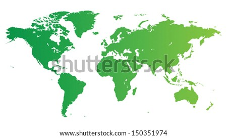 High quality green vector map of the World. - stock vector