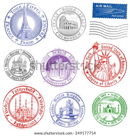 High quality Grunge Vector Stamps of major monuments around the world. - stock vector