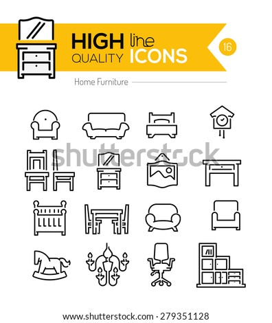 High Quality Home furniture line icons  - stock vector
