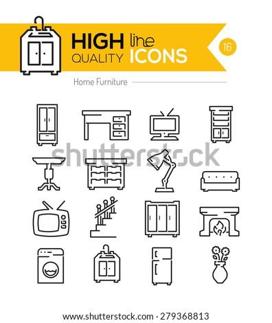 High Quality Home Furniture line icons three. Kapreski s Portfolio on Shutterstock