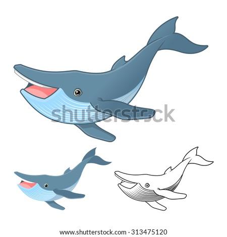 High Quality Humpback Whale Cartoon Character Include Flat ...