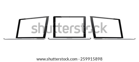 High quality illustration set of modern laptop perspective and front view  with blank screen. Isolated on white background. - stock vector