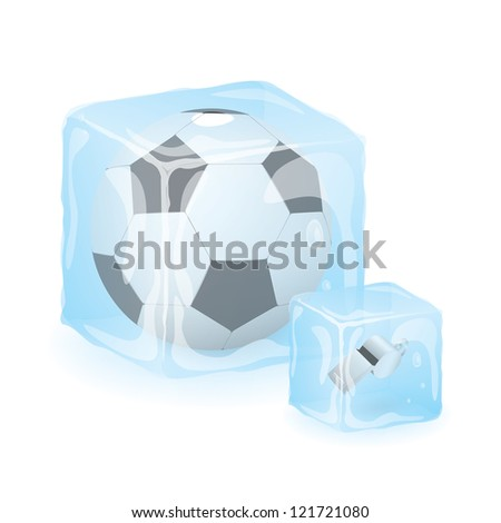 High Quality Isolated Soccer Ball And Referee Whistle In Ice Cube - stock vector