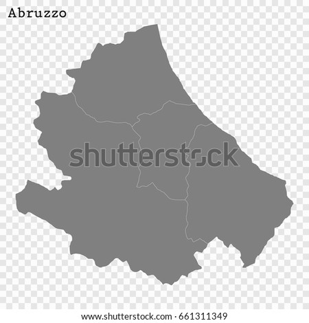 High Quality Map Abruzzo Region Italy Stock Vector 661311349