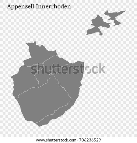 High Quality Map Appenzell Innerrhoden Canton Stock Vector 706236529