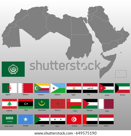 High quality map arab world borders vector de stock649575190 high quality map of arab world with borders of the states flags of the 22 gumiabroncs Choice Image
