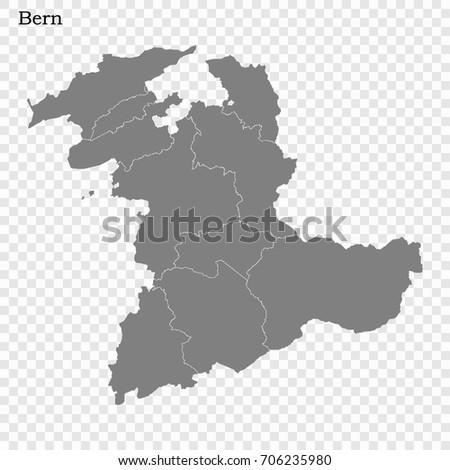 High Quality Map Bern Canton Switzerland Stock Vector 706235980