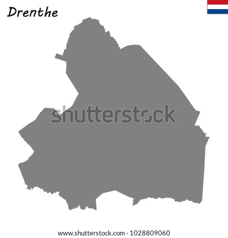 High Quality Map Drenthe Province Netherlands Stock Vector