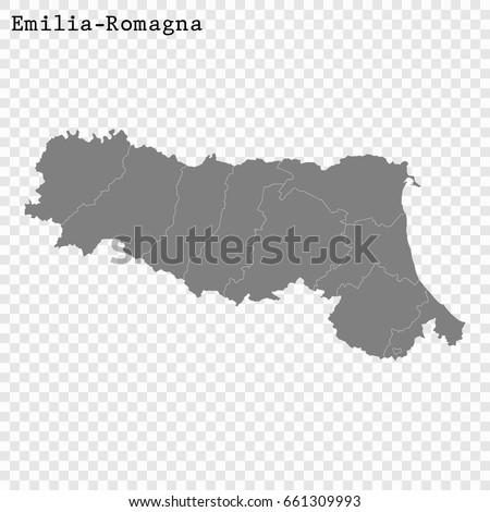 High Quality Map Emiliaromagna Region Italy Stock Vector 661309993