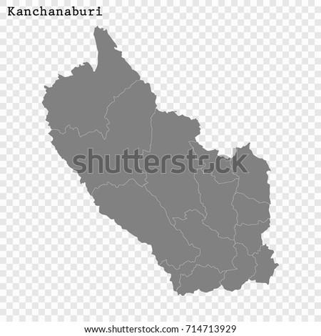 High Quality Map Kanchanaburi Province Thailand Stock Vector HD