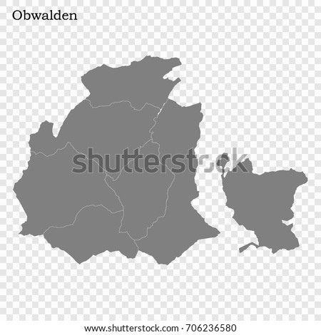 High Quality Map Obwalden Canton Switzerland Stock Vector 706236580