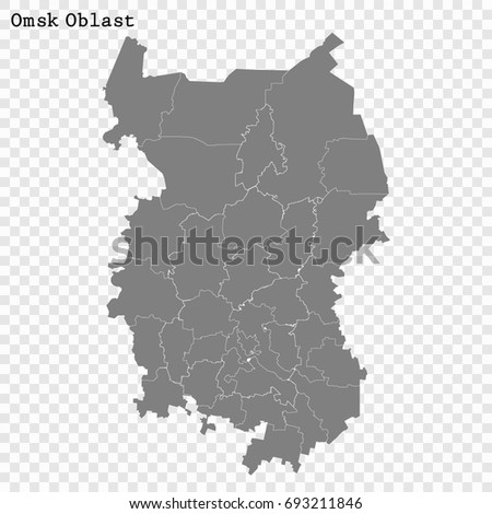 High Quality Map Omsk Oblast Region Stock Vector 693211846