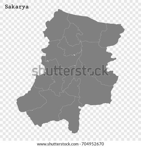 High Quality Map Sakarya Province Turkey Stock Photo Photo Vector