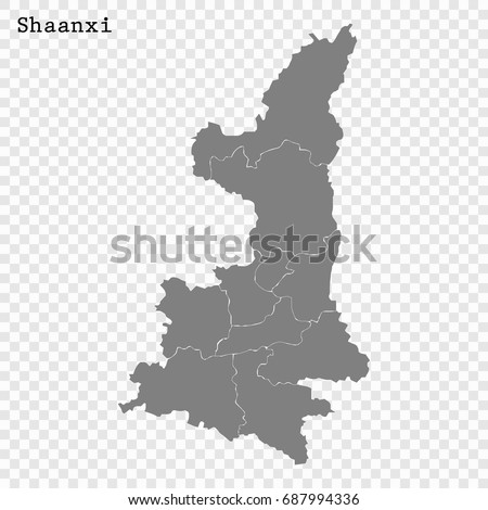 High quality map shaanxi province china vectores en stock 687994336 high quality map of shaanxi is a province of china with borders of the divisions gumiabroncs Images