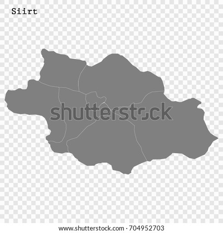 High Quality Map Siirt Province Turkey Stock Vector 704952703