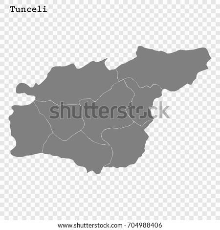 High Quality Map Tunceli Province Turkey Stock Vector 704988406