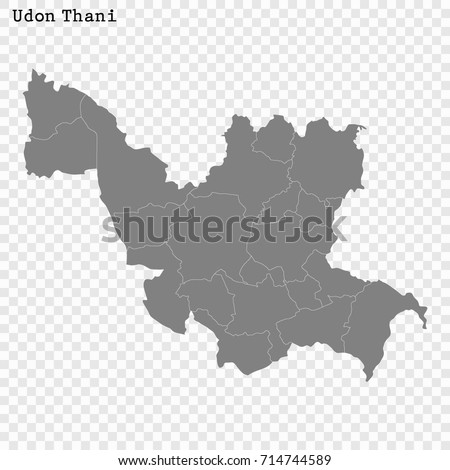 High Quality Map Udon Thani Province Stock Vector 714744589