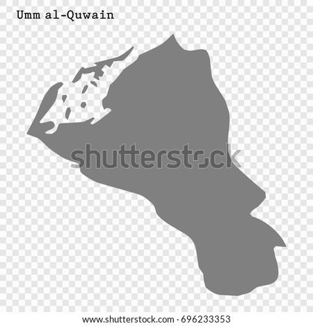 High Quality Map Umm Alquwain Emirate Stock Vector 2018 696233353