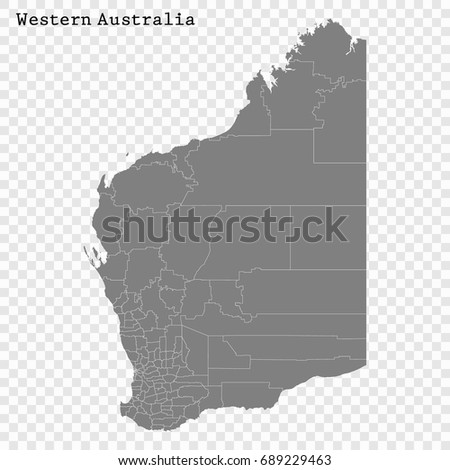High Quality Map Western Australia State Stock Vector 689229463