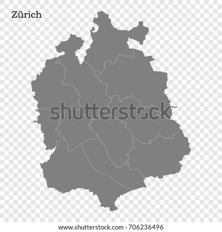 High Quality Map Canton Switzerland Borders Stock Vector 706236496