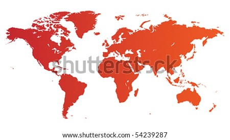 High quality red vector map of the World. - stock vector