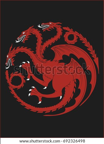 High quality redraw of a Targaryen Heraldic Sign. A Song of Ice and Fire Heraldry. Great Houses of Westeros. Vector Heraldry. CMYK. A4 size.