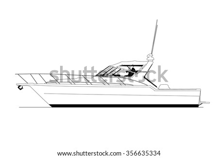 High quality side view line drawing of sea vessel. Black and white art treatment. - stock vector