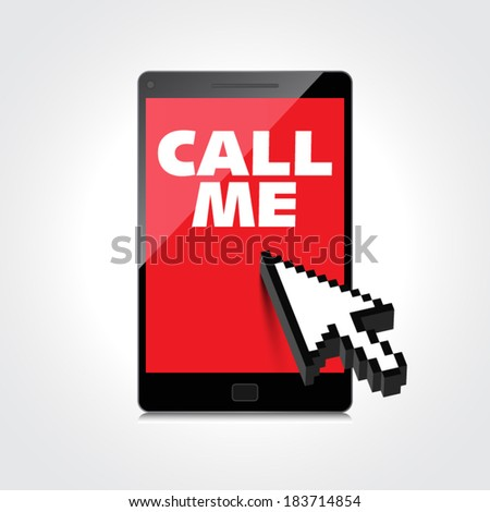 High-quality smartphone screen with the text message Call me. - stock vector