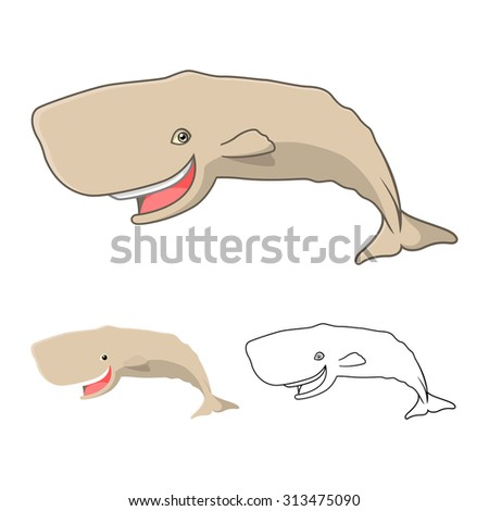 High Quality Sperm Whale Cartoon Character Include Flat Design and Line Art Version - stock vector