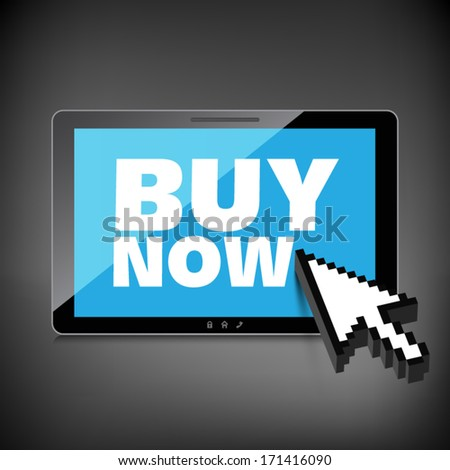 High-quality tablet screen with the text Buy Now. Special offer. Marketing concept. - stock vector